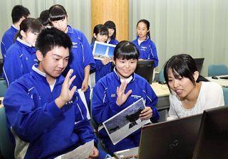 ニュージーランドの生徒とネット電話で交流/東通中