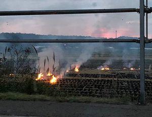 つがる市木造の県道沿い。わら焼きの炎が見える=11日夕、読者提供