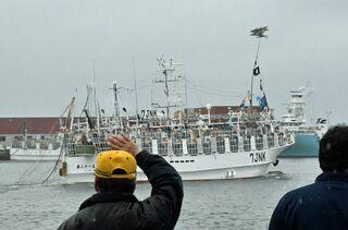 アカイカ漁の中型イカ釣り船出港/八戸港