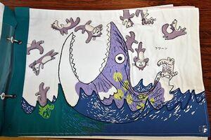 「11ぴきのねこ」の一コマ。原作に忠実に、楽しい絵本が生き生きと再現されている