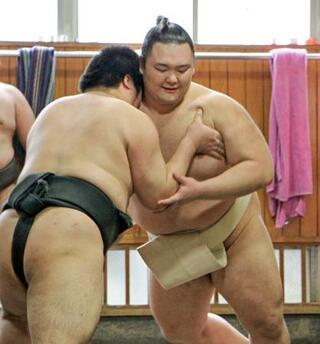 朝乃山、じっくり筋力強化に励む