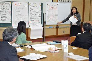 津軽地域の二次交通を結びつけて観光客などにサービス提供するアイデアを発表する参加者