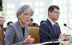 韓国国会の外交統一委員会で答弁する康京和外相(左)=21日(聯合=共同)