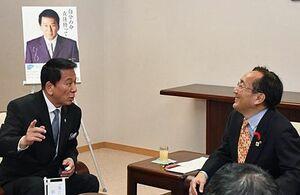 三村知事(右)に肝炎ウイルス検査の必要性を語る杉良太郎さん