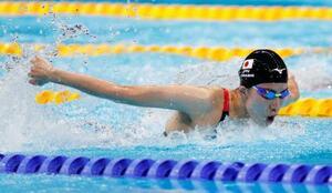 女子400メートル個人メドレー決勝 優勝した大橋悠依のバタフライ=東京アクアティクスセンター