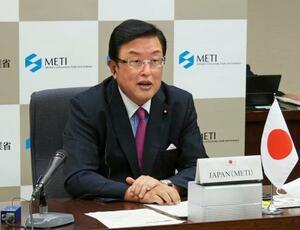 G20エネルギー相会合のテレビ会議に出席した長坂康正経産副大臣=28日、経産省(経産省提供)