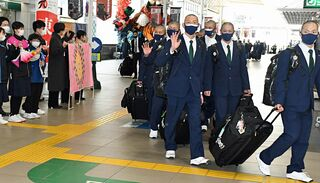 「行くぞ!」八戸西高ナイン甲子園に出発