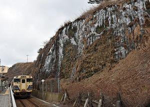 JR千畳敷駅前の岩肌はほぼ露出し、例年のような「氷のカーテン」はできていない=25日午後、深浦町