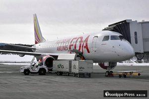 青森空港に到着したフジドリームエアラインズの新機体=18日午前9時ごろ
