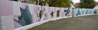 公園壁面に縄文アートペイント 八戸で完成