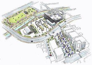 駅西地区まちづくりのイメージ図。中央付近の方形の建物がフラットアリーナ、下が八戸駅西口方面=市駅西区画整理事業所提供