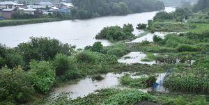 馬淵川の増水により、冠水した川沿いの畑(手前)=16日午後4時20分、八戸市櫛引