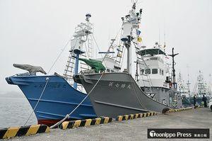 4日から始まるミンククジラの調査捕鯨に備え八戸港に停泊する小型捕鯨船=2日午後、八戸港第1魚市場岸壁