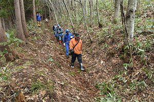 「十和田新道」の深い堀道を下る調査チームのメンバー=4月25日、十和田市の月日山