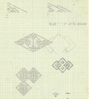 高橋さん夫妻がのこした図案の一部。1ミリ方眼紙に細かく描かれている