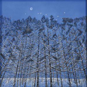 石橋さんの日本画「残月」