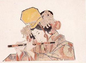 小島左近が手掛けた、現存最古のねぷた絵。五人ばやしを描いたものと言われる