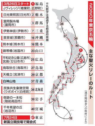 青森県は白神山地 20年東京五輪・聖火リレー