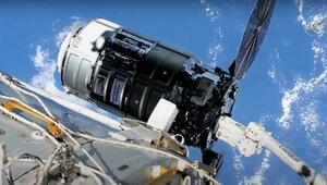 野口聡一飛行士がロボットアームでキャッチした米国の無人補給機「シグナス」(NASATVから)