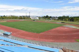 県が7月をめどに無料開放する方針を示した青森市安田の旧陸上競技場のトラック・フィールド部分=2019年8月