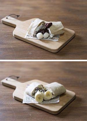 村産のそば粉を使用したスイーツガレット「小倉白玉クリーム」(上)と「チョコバナナクリーム」(同社提供)