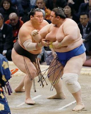 大相撲、白鵬9勝目で首位守る