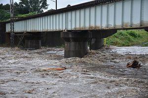 大雨で増水し、激しい勢いで流れる馬淵川=16日午前7時20分、南部町沖田面