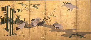 弘前藩のお抱え絵師秦如春が描いた「松竹梅鶴図屏風」の一部。鶴が集う姿は、当時の津軽では日常的な光景だったのかもしれない(弘前市立博物館蔵)