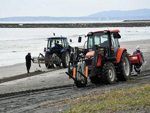 おいらせ町一川目地区の海岸で行われた除去作業=1日