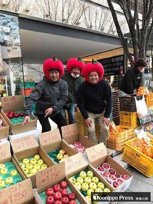 大阪市で県産リンゴをPRする農家有志(「りんごの惑星」フェイスブックより)