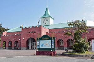 町が改修を検討している旧ウェスパ椿山・物産館=6月4日、深浦町舮作