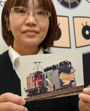 弘南鉄道が父の日を前に無料配布するラッセル車のポストカード