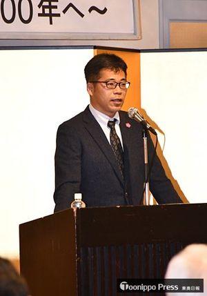 講演で、弘前公園の桜を守り続けた人々の系譜を紹介した平塚氏