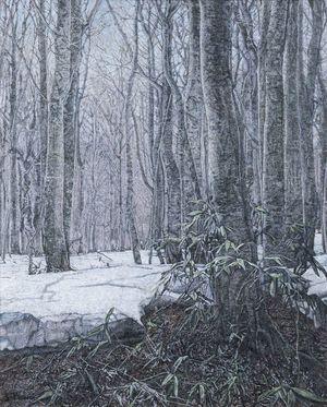木村さんの油彩画「残雪」