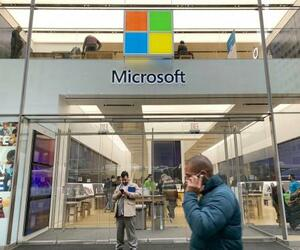 マイクロソフトの店舗=7日、米ニューヨーク(共同)