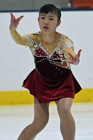 【高校・女子Aクラス】安定感のある演技で初の頂点に立った大澤(三沢)=テクノルアイスパーク八戸