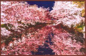 大型パネルのイメージ図。津軽塗のモザイクアートで弘前公園西堀の桜を表現する
