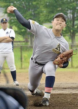 U-15日本代表に選ばれた青森山田リトルシニアの藤森粋七丞投手。最速140キロの球速が持ち味=6月末、青森市内