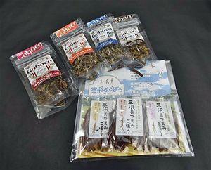 規格外ゴボウを使った土産品の「三沢おつまみごぼう」(手前)。奥は昨年販売を開始した「Goboco」