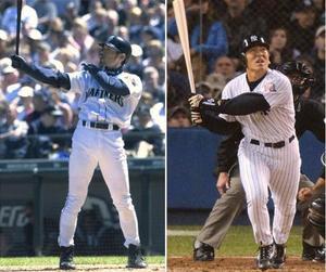 左からマリナーズのイチロー外野手(2001年撮影)、ヤンキースの松井秀喜外野手(2003年撮影)