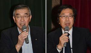 公開弁論会で自身の公約などについて語る中谷氏(写真左)と井口氏(同右)