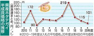 ホタテ1キロ95~102円 外食需要減、価格伸びず