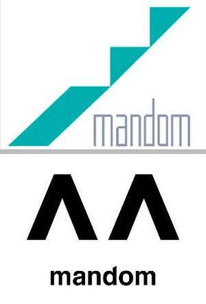 マンダムの現行(上)と新しいロゴマーク