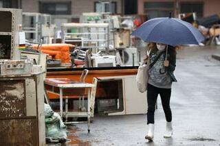 台風19号の被災地、再び雨