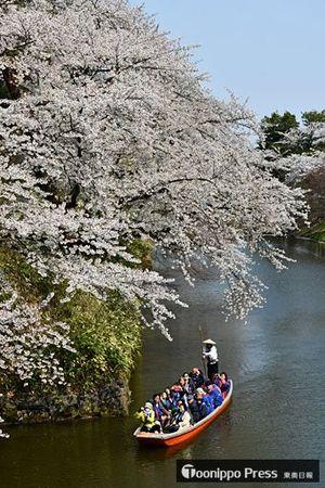 中堀をゆったりと進む和船から桜を堪能する来園者=26日午後1時50分ごろ