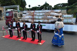 五輪選手村建設へ 青森県産材が出発式