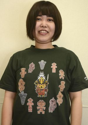 たか丸くんを中央にデザインした縄文Tシャツ